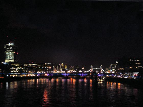 Night view along the river Thames from Blackfriars station